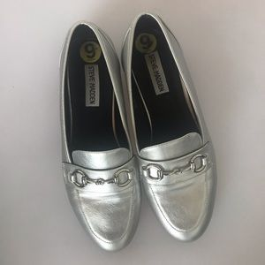 Steve Madden silver buckle loafers